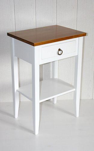 Nachttisch zweifarbig weiß honigfarben Komforthöhe Beistelltisch Vollholz massiv – Bild 4