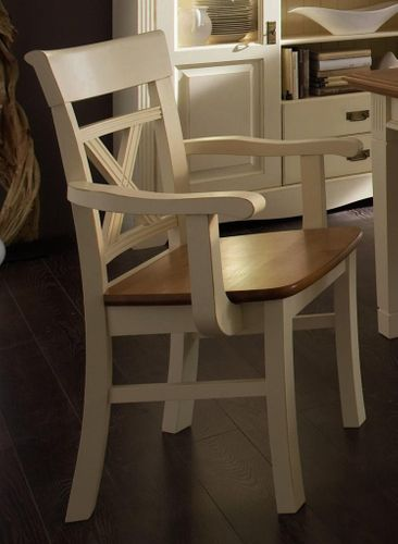Armlehnstuhl mit Holzsitz, Kiefer massiv 2farbig champagnerfarben/goldbraun lackiert – Bild 1