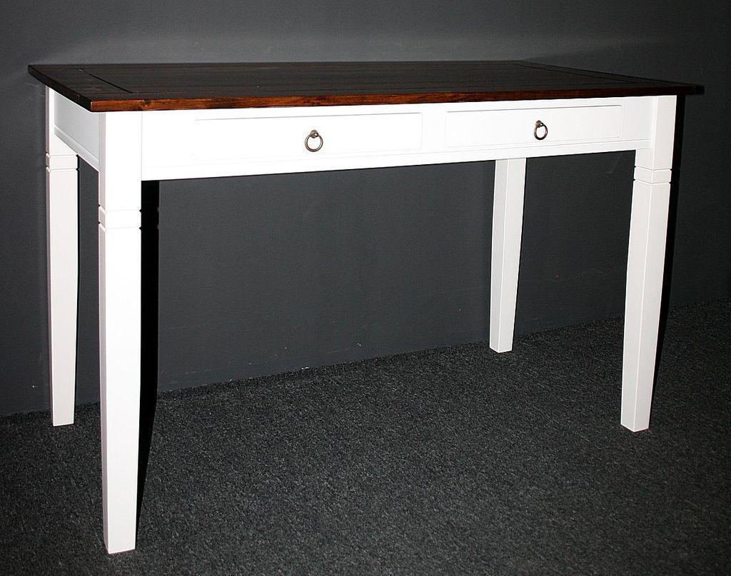 Bürotisch 130x64 2farbig weiß nussbaum Schreibtisch Vollholz massiv – Bild 4