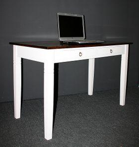 Bürotisch 130x64 2farbig weiß nussbaum Schreibtisch Vollholz massiv 001