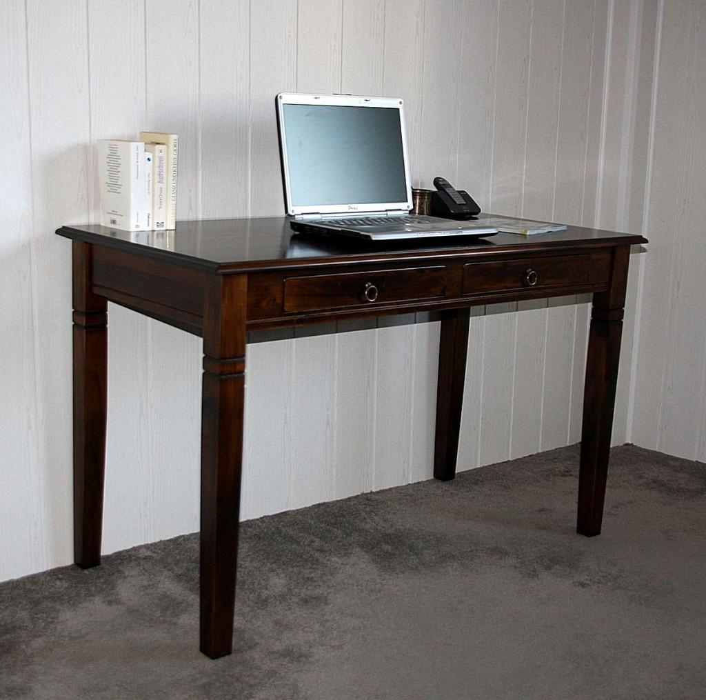 Schreibtisch 130x64 Vollholz Computertisch PC-Tisch Bürotisch braun nussbaum Farbe massiv – Bild 5