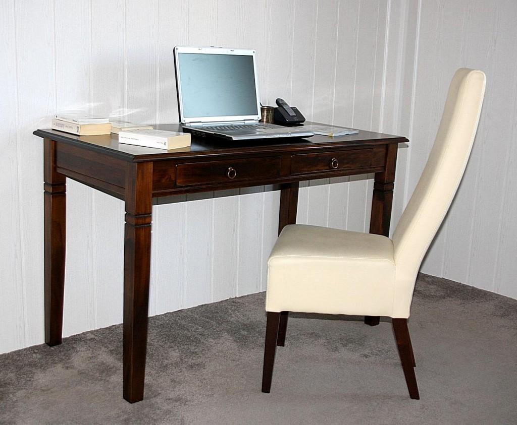Schreibtisch 130x64 Vollholz Computertisch PC-Tisch Bürotisch braun nussbaum Farbe massiv – Bild 2