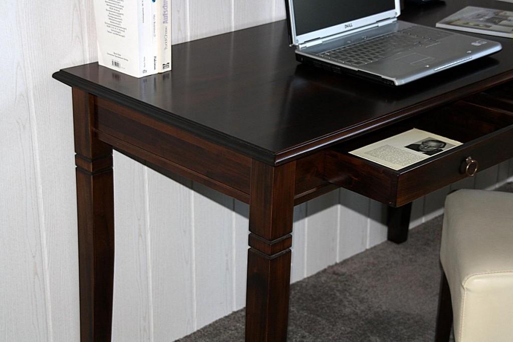 Schreibtisch 130x64 Vollholz Computertisch PC-Tisch Bürotisch braun nussbaum Farbe massiv – Bild 8