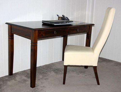 Schreibtisch 130x64 Vollholz Computertisch PC-Tisch Bürotisch braun nussbaum Farbe massiv – Bild 1