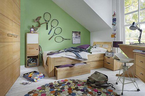 Vollholz Kinderzimmer Jugendzimmer 5teilig Buche massiv geölt – Bild 1