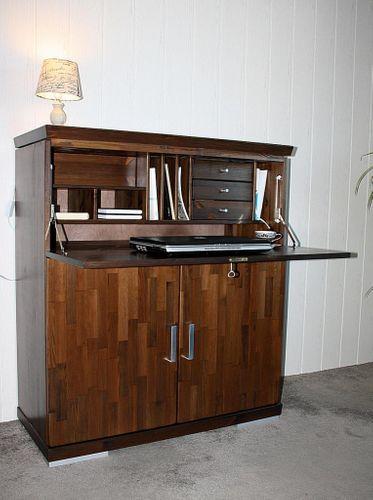 Sekretär Schreibtisch Kommode Büro Holz Kiefer massiv Vollholz nussbaumfarben lackiert – Bild 1