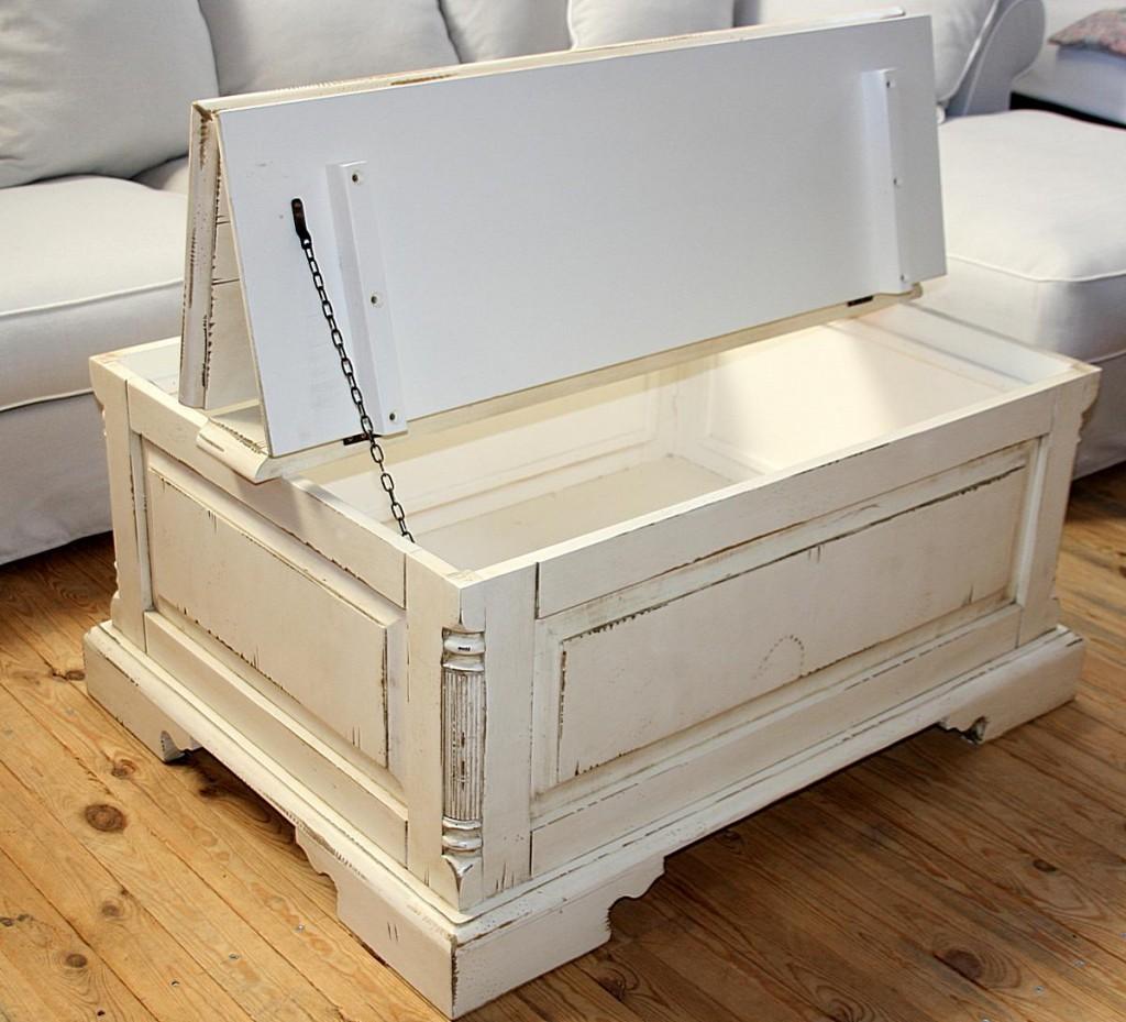 couchtisch truhe 105x50x80cm fichte massiv antik creme. Black Bedroom Furniture Sets. Home Design Ideas