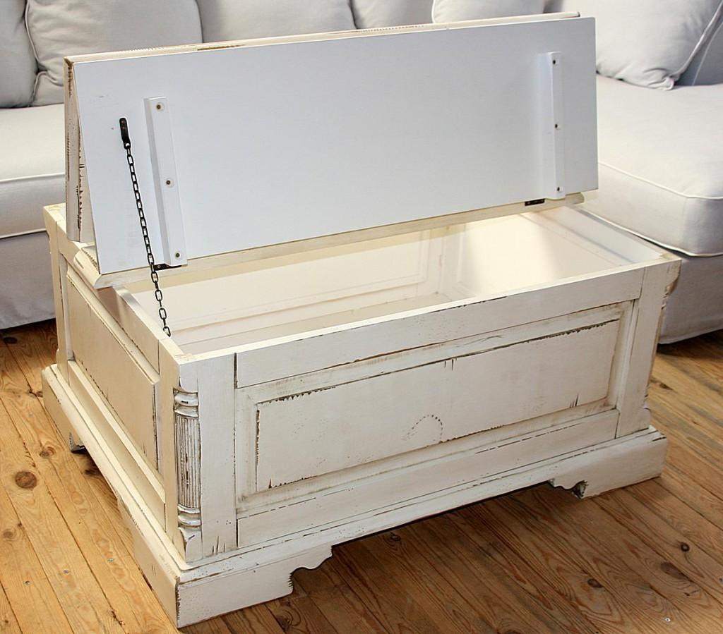 couchtisch truhe 105x50x80cm fichte massiv antik creme vintage. Black Bedroom Furniture Sets. Home Design Ideas