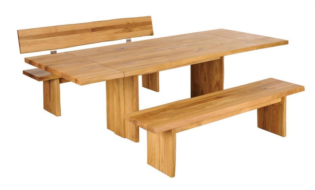 sitzbank 200cm mit r ckenlehne baumkante holzf e wildeiche massiv ge lt. Black Bedroom Furniture Sets. Home Design Ideas