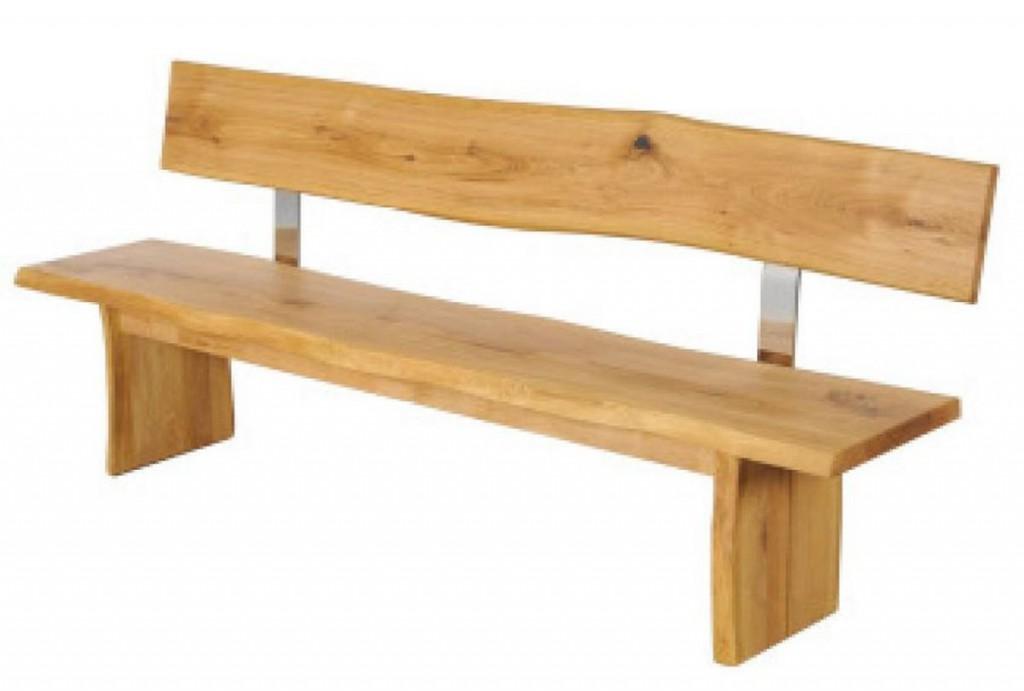 Sitzbank 200cm mit Rückenlehne, Baumkante, Holzfüße, Wildeiche ...