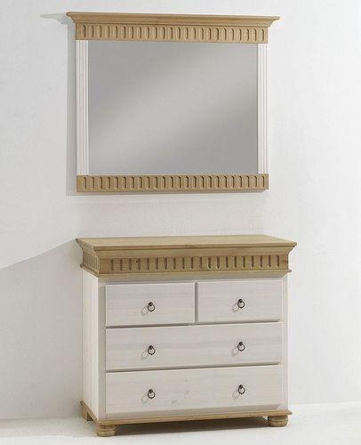 Kommode mit Spiegel Schubladenkommode Wandspiegel Kiefer massiv Vollholz weiß antik – Bild 1