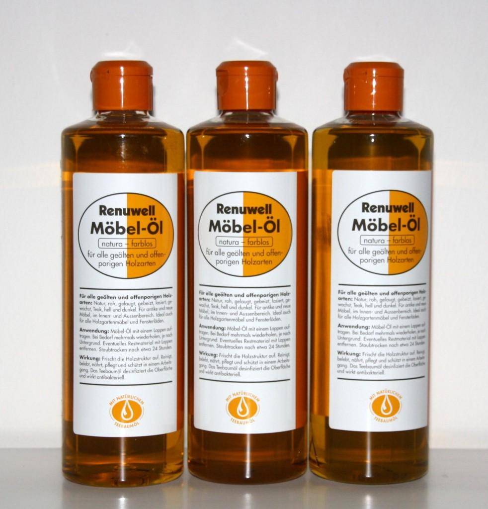 Renuwell Möbel-Öl, 3er-Set Teebaumöl Eiche Kiefer Buche Fichte – Bild 1