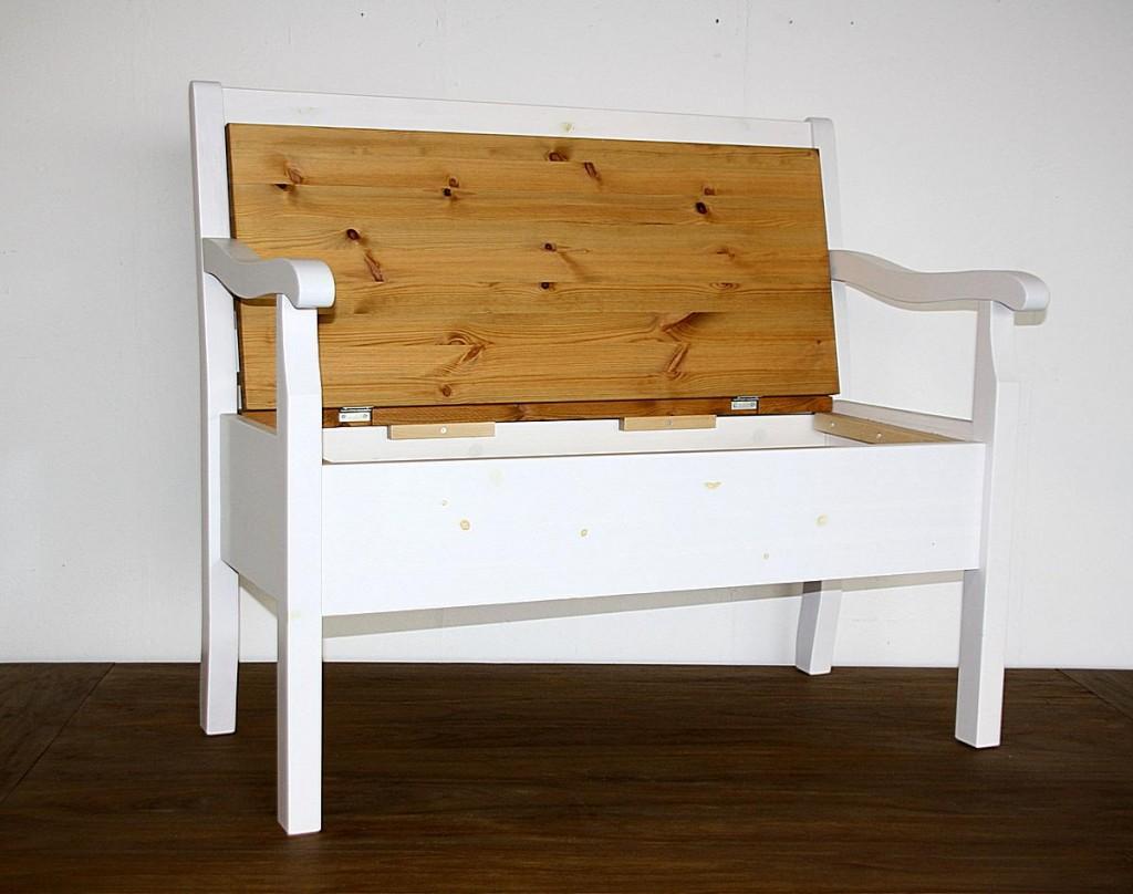 truhenbank 105x93x46cm mit armlehne kiefer massiv. Black Bedroom Furniture Sets. Home Design Ideas