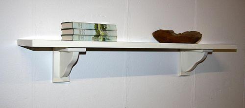 Wandregal 118cm cremefarben Wandboard elfenbeinfarben Pappel massiv – Bild 2