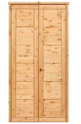 Kleiderschrank 2türig gelaugt geölt Schlafzimmerschrank Vollholz Kiefer massiv – Bild 1