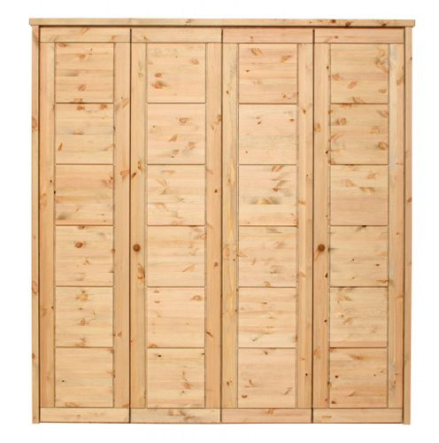 Schlafzimmerschrank 4türig gelaugt geölt Kiefer massiv Vollholz Kleiderschrank – Bild 1