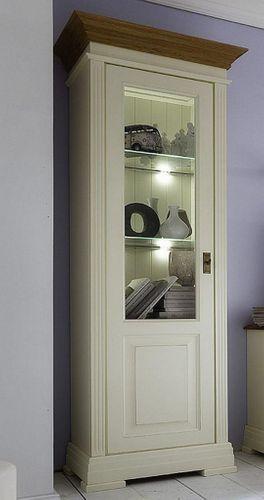Vitrine Linksanschlag Wohnzimmerschrank massiv Kiefer creme Wildeiche geölt – Bild 1