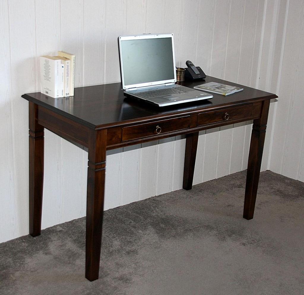 Schreibtisch 110x64 Vollholz Computertisch PC-Tisch Bürotisch braun nussbaum Farbe massiv – Bild 7