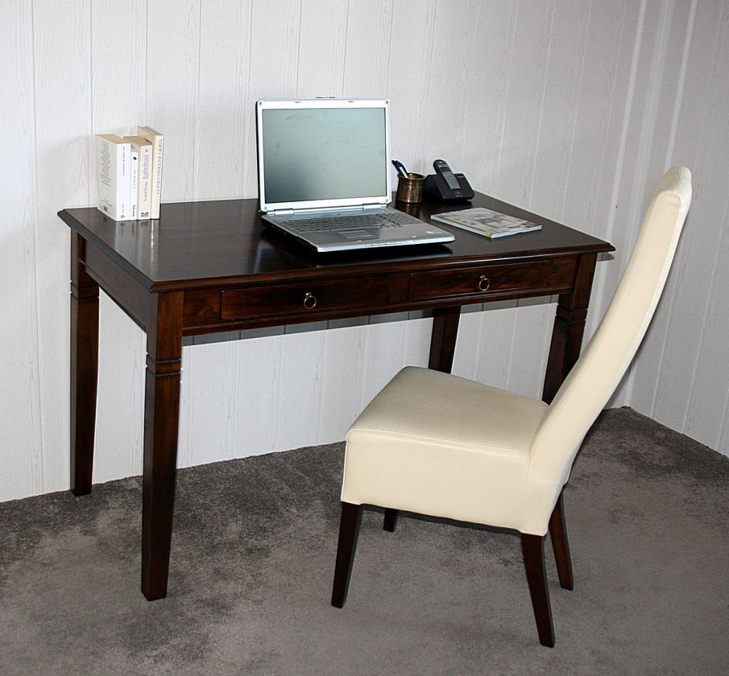 Schreibtisch 110x80x64cm 2 Schubladen Pappel Massiv Nussbaumfarben