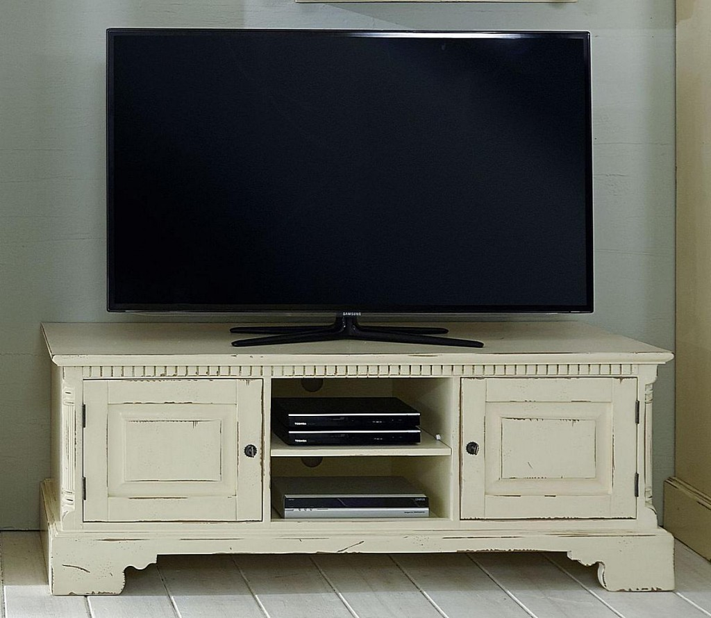 tv lowboard mit paneel aufsatz fichte massiv antik creme. Black Bedroom Furniture Sets. Home Design Ideas