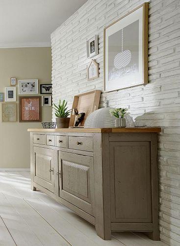 Anrichte 2türig Eiche massiv Vollholz Sideboard 2farbig antik grau taupe blond Vintage – Bild 2