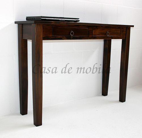 Konsolentisch nussbaumfarben Telefontisch braun massiv Wandtisch kolonial Guéridon mit 2 Schubladen – Bild 4