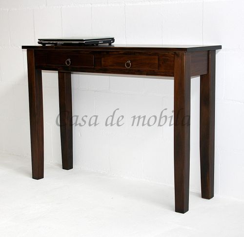 Konsolentisch nussbaumfarben Telefontisch braun massiv Wandtisch kolonial Guéridon mit 2 Schubladen – Bild 3