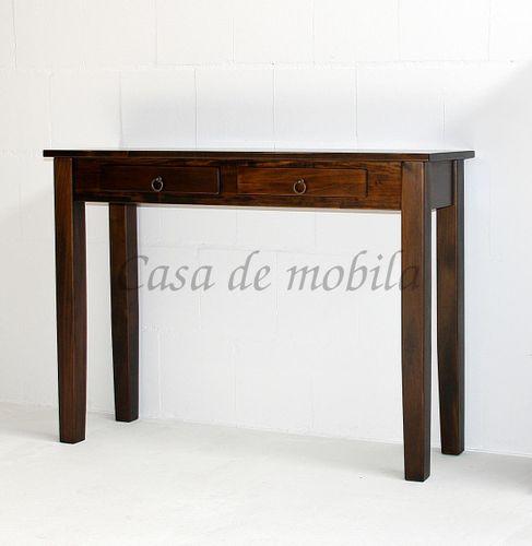 Konsolentisch nussbaumfarben Telefontisch braun massiv Wandtisch kolonial Guéridon mit 2 Schubladen – Bild 6
