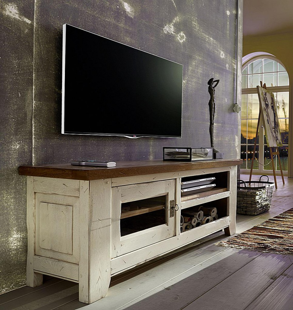Wohnzimmer komplett 3teilig Eiche massiv Vollholz Wohnzimmermöbel 2farbig antik elfenbein blond Vintage – Bild 2