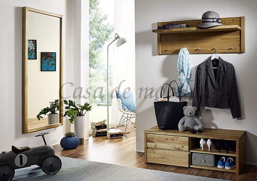 Dielen-Set 3teilig Wildeiche massiv geölt Dielenmöbel Vollholz Flurmöbel – Bild 1
