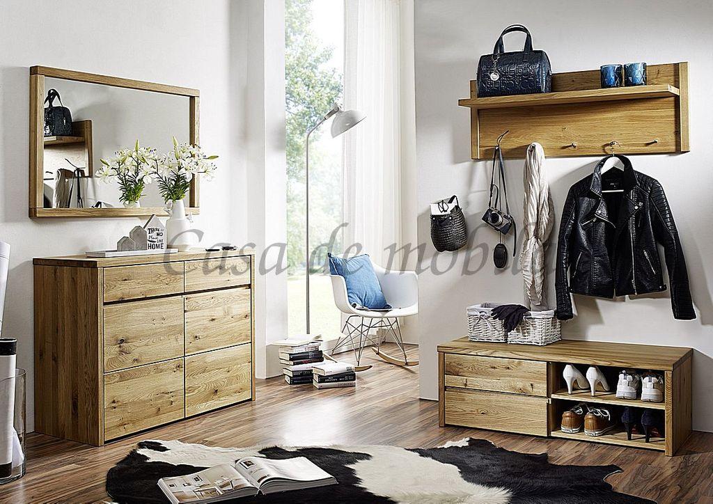Dielen-Set 4teilig Wildeiche massiv geölt, Möbelserie Oliver