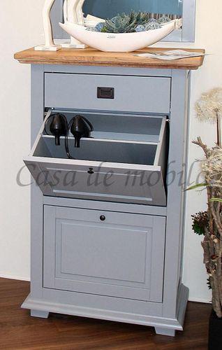 Schuhkommode 2 Klappen 1 Schublade Buche grau Wildeiche bianco geölt Schuhschrank – Bild 2