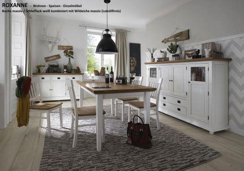 Esstisch 180x90 Esszimmertisch Buche weiß Wildeiche geölt Küchentisch – Bild 2