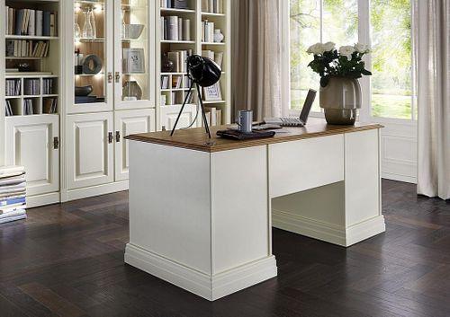 Schreibtisch klein Kiefer creme Wildeiche geölt mit Schubladen – Bild 4