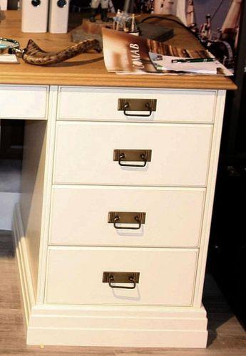 Schreibtisch groß Kiefer creme Wildeiche geölt mit Schubladen – Bild 2