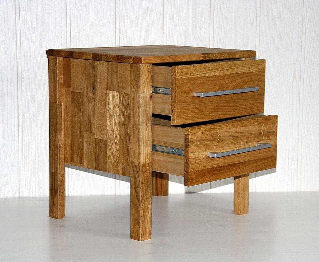 nachtkommode 45x45x35cm 2 schubladen wildeiche massiv ge lt. Black Bedroom Furniture Sets. Home Design Ideas