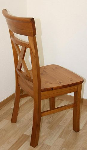 Holzstuhl Kiefer goldbraun lackiert honigfarben Lehnstuhl mit Holzsitz – Bild 3