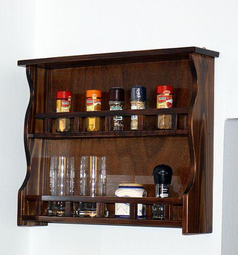 Gewürzregal nussbaum Gewürzhalter 58cm Gewürzboard Vollholz Küchenregal mit 2 Ablagen – Bild 1