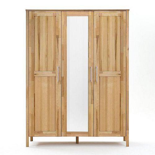 Kleiderschrank 3türig mit Spiegel Kernbuche Schrank Vollholz massiv geölt Schlafzimmerschrank – Bild 1