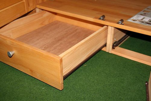 Kleiderschrank 4türig Kernbuche Schrank mit Schubladen Vollholz massiv geölt Schlafzimmerschrank – Bild 14