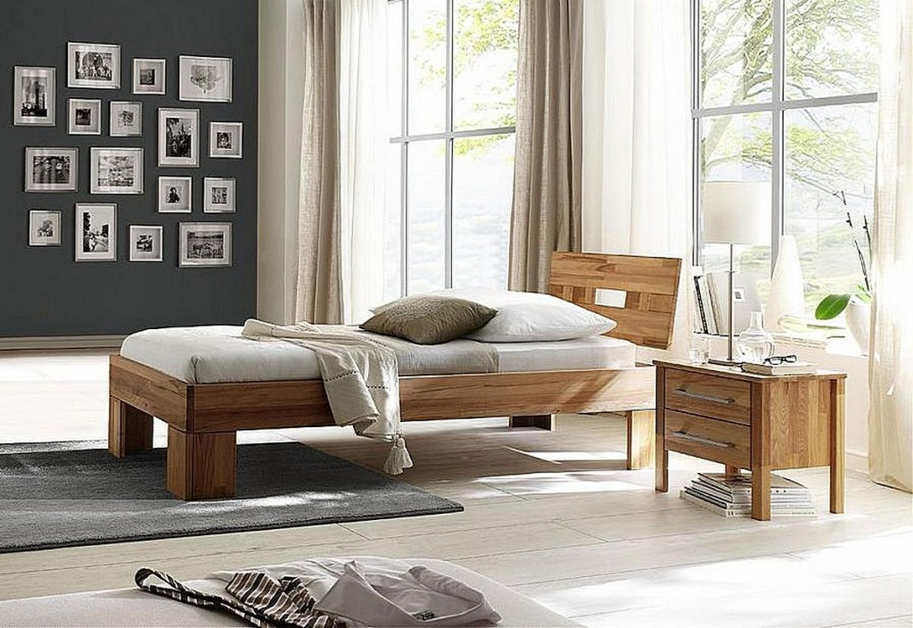bett 90x200 kopfteil verbunden kernbuche massiv ge lt. Black Bedroom Furniture Sets. Home Design Ideas