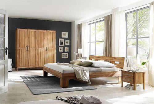 Schlafzimmer 4teilig bett 180x200 schrank 4t rig glatte front kernbuche massiv ge lt - Schlafzimmer bett 180x200 ...