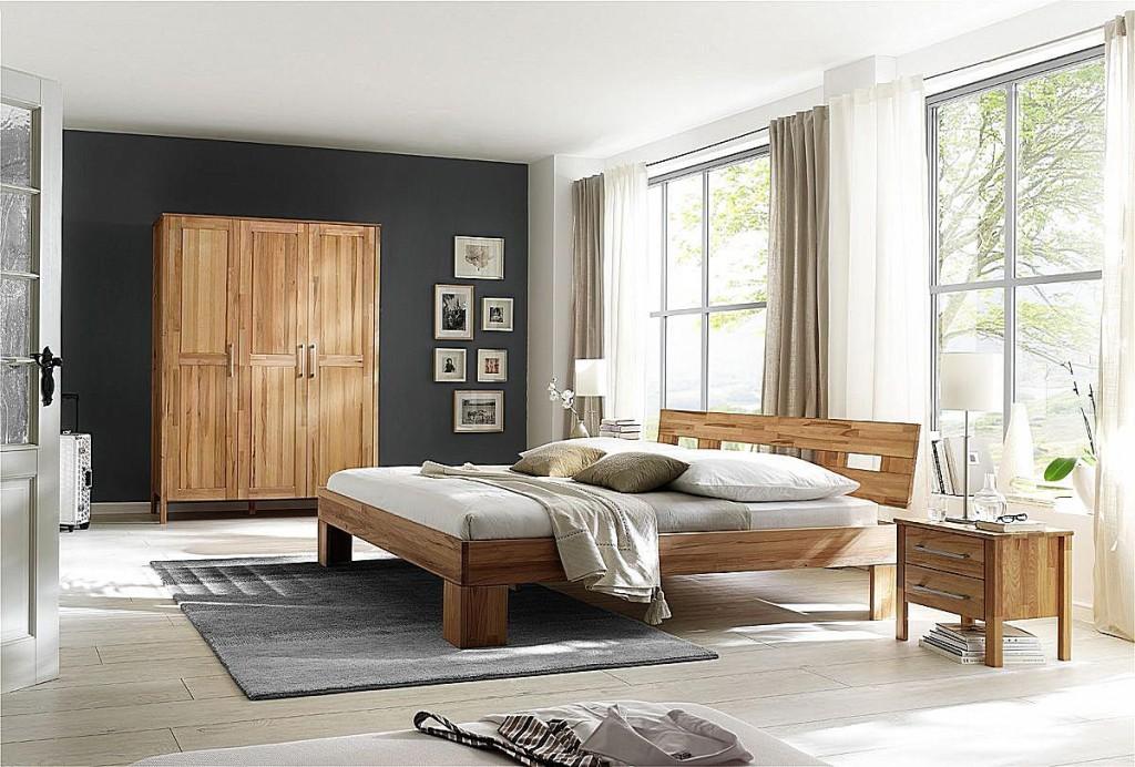 Schlafzimmer 4teilig, Bett 140x200, Schrank 3türig, glatte Front ...