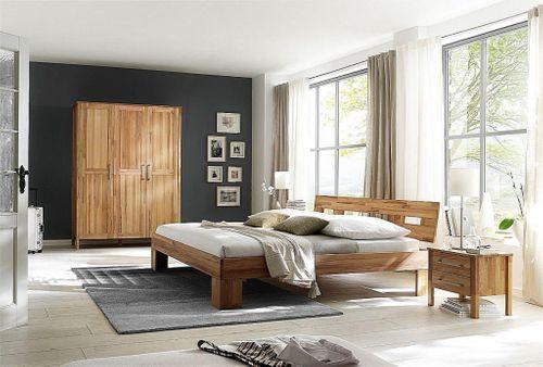 Schlafzimmer komplett 4teilig Bett 140x200 Schrank 3türig Kernbuche massiv geölt – Bild 1
