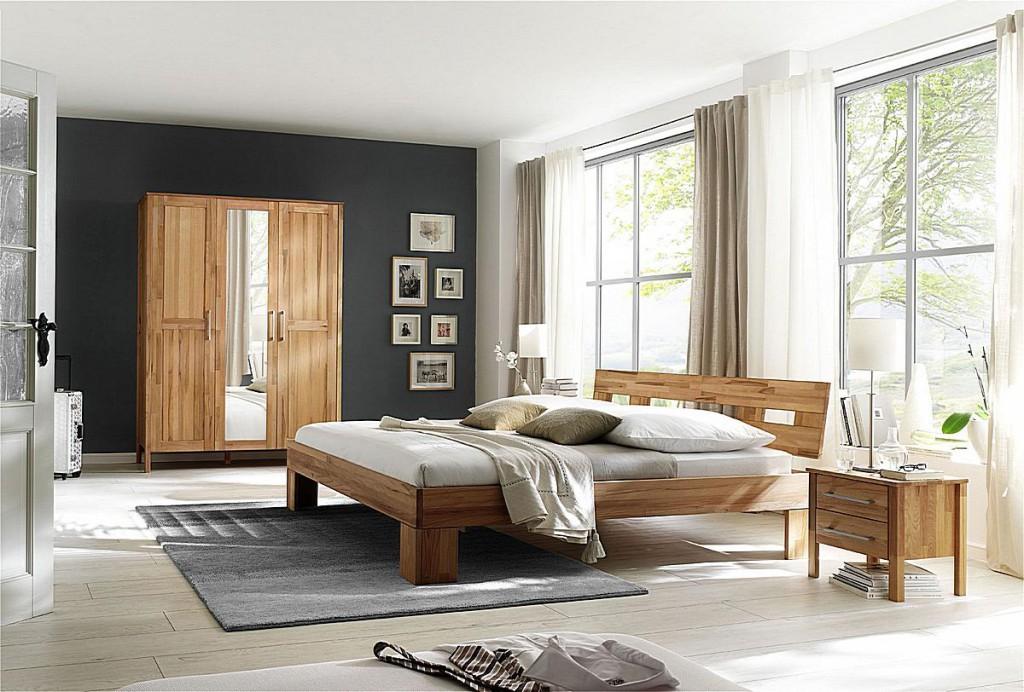Schlafzimmer 4teilig Bett 140x200 Schrank 3turig Glatte Front