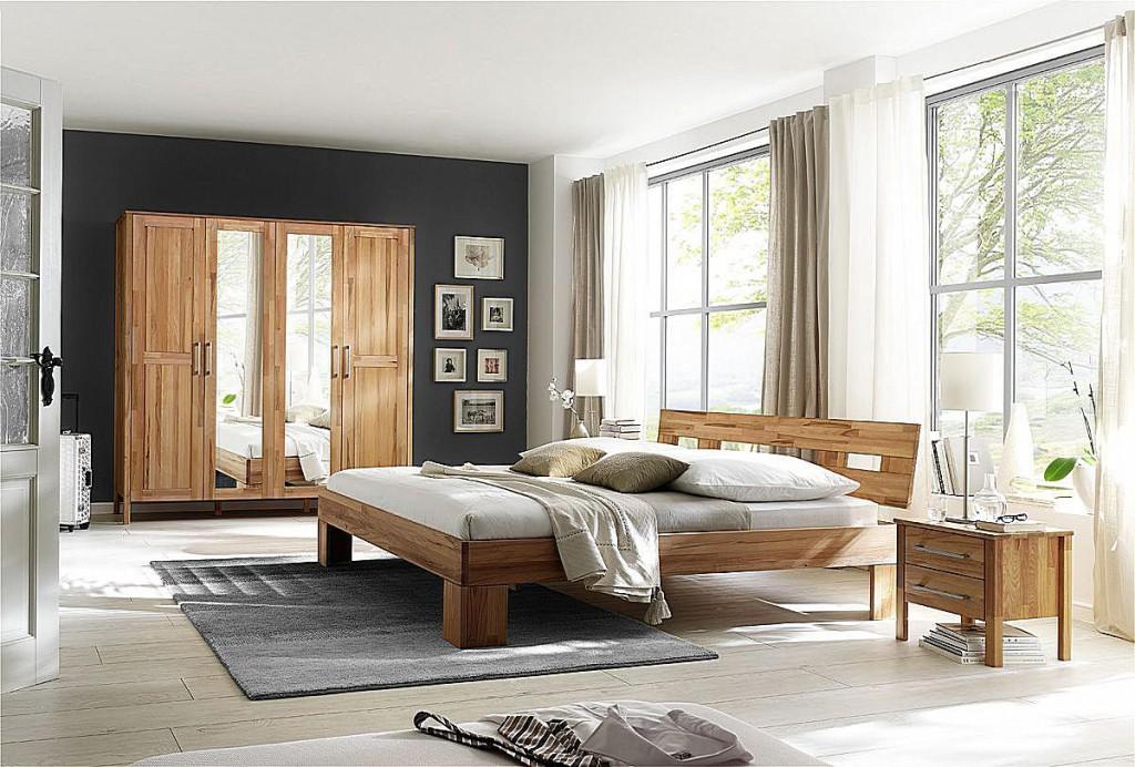 schlafzimmer 4teilig bett 180x200 schrank 4t rig glatte front spiegel kernbuche massiv ge lt. Black Bedroom Furniture Sets. Home Design Ideas