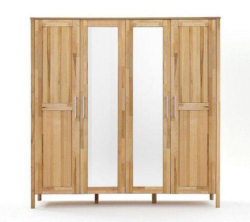 Schlafzimmer komplett Bett 180x200 Schrank 4türig Spiegel Kernbuche massiv geölt – Bild 2