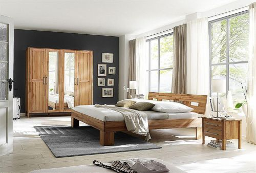 Schlafzimmer komplett Bett 180x200 Schrank 4türig Spiegel Kernbuche massiv geölt – Bild 1
