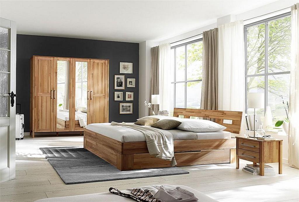 Details zu Massivholz Schlafzimmer komplett set Kernbuche Schubladen-bett  180x200 Schrank