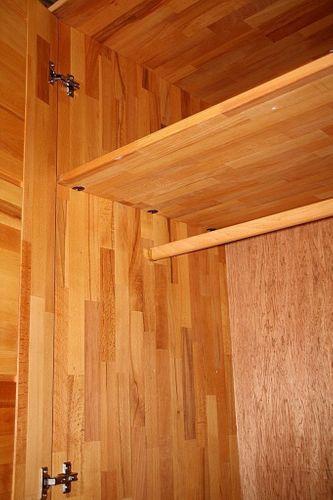Schlafzimmer-Set Schubladenbett 180x200 Schrank 4türig Kernbuche massiv geölt – Bild 4